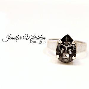 Swarovski Crystal Silver Night Pear Ring